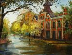 Rain in the old city center by AmsterdamArtGallery