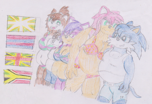 Indigo and Ashley with lovers on holiday sequel by WhippetWild