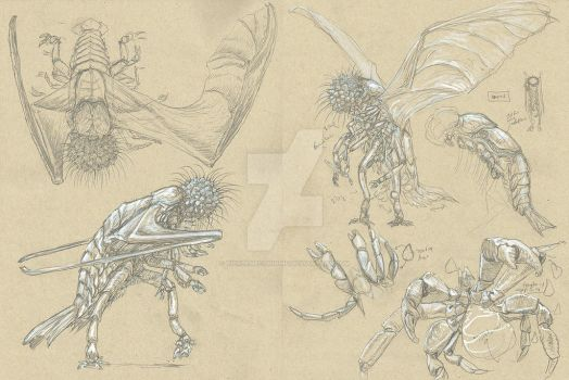 MiGo Concept Sketches by TickleMeCthulhu