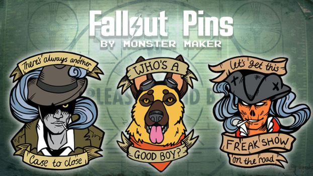 ATOMIC! - Fallout themed enamel pins by MonsterMakerArt