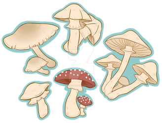 Mushroom Stickers by Halo-Of-Sunshine