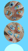 Disney and Pokemon Sea Creatures Manicure by MikariStar
