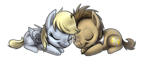 Chibi Derpy Hooves And Doctor Whooves by Plumpig