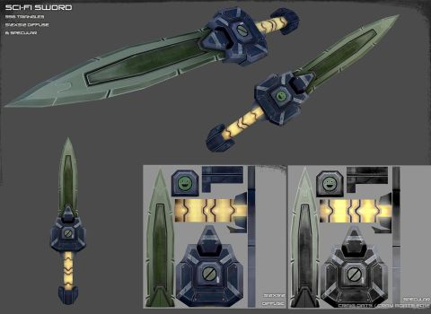 Sci-Fi Low Poly Sword by Cray-Goats