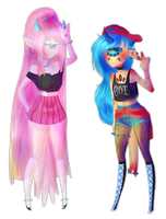 Pink and blue by Cristal-Tears