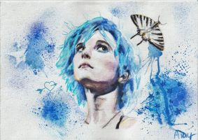 Hayley with blue hair by BluPigeon