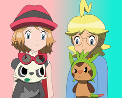 Chespin and Pancham with Clemont and Serena