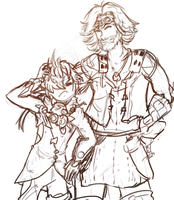 Cid and Alphinaud - sketch by LastAim