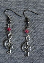 Silver and Pink Treble Clef Earrings by craftymama