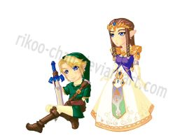 Stickers: Link and Zelda by Noxiihunter