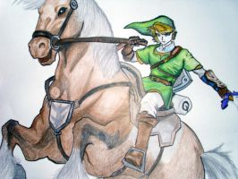 Link and Epona Drawing by Electric-Meat