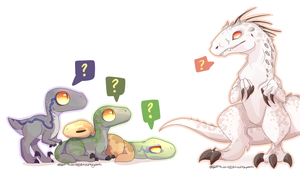 Jurassic World - Indominus and the Raptors by ArtistoftheGeeks