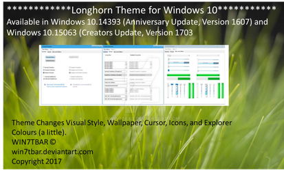 Longhorn Theme for Windows 10 by WIN7TBAR