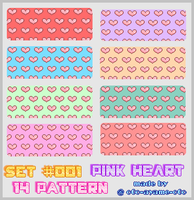 PATTERN SET 001 - Pink Hearts by AndreeaArsene