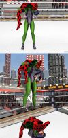 XPS wrestling: She Hulk Breaks lady bug back by fulgore12