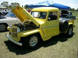 1963 Willys yellow pickup truck by RoadTripDog