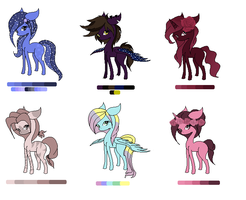 Adopt sheet #1 ALL FEMALES (3/6 open) by Storm-The-BUN