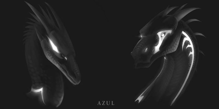Abyss/Shatter grayscale headshots (commission) by Azul-Creations