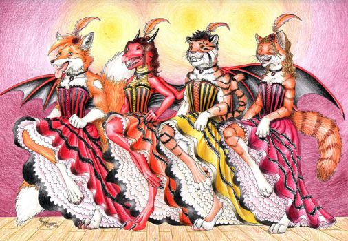 Can Can dancers by FlamSlade