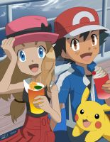Ash, pikachu and Serena by IzzyLC