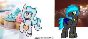 Cupcake and Lightning Themed Pony Commishes by MadWhovianWithABox