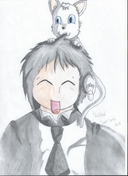 Chibi Sebastian and a cat by Nostral-Lou-Whi