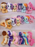 Mane Six Lying Beanies by SewYouPlushieThings