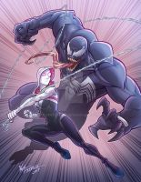 Spider Gwen VS. Venom by kpetchock