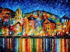 Town At Harbor by Leonid Afremov by Leonidafremov