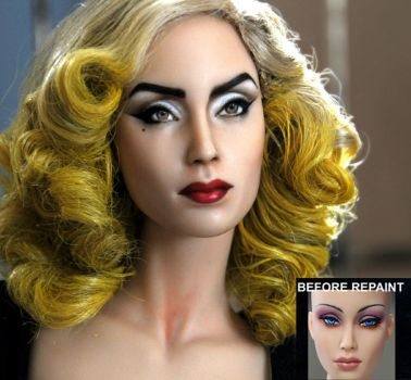 custom doll repaint Lady Gaga - Telephone by noeling
