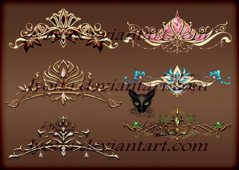 Gold elements diadems 06 by lyotta by Lyotta