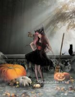 Pumpkins and little Witch by MelFeanen