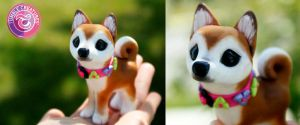 Shiba Inu Sculpture by crystalcookart