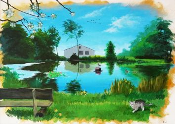 Peaceful Pond by Wolka-Art