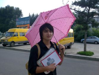 me under the pink umbrella by 1chrono1