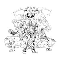 Iron Cops - Lineart by xavor85