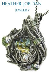 Steampunk Bismuth and Uranium Glass Pendant in SS by HeatherJordanJewelry