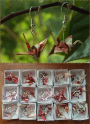 Origami Cranes Earrings by excence