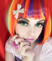 Rainbow and colorful alternative girl makeup look by cherrybomb-81