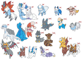 Buttload of Pokemon hybrid adopts -CLOSED- by FloofAngel