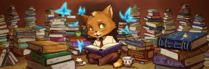 The reading cat by Juli556