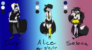 Ivory, Selena, and Alice the Skunks by DaniTheDealer