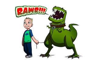 Child and His Pet Tyranosaur - Fiverr Commission by etchant