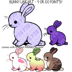 bunny lineart P2U - $1 or 100 points! by thekingtheory