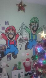 mario bros wall painted by Two-FacedBatman