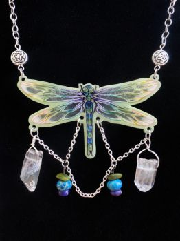 Multicolored dragonfly necklace by Flos-Abysmi