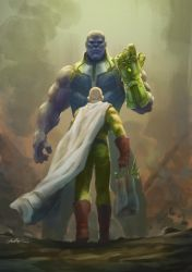 Saitama Vs Thanos by Drawslave