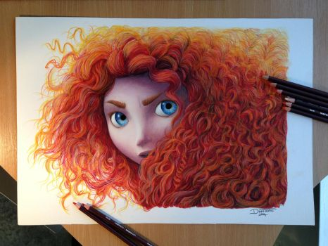 Merida Color Pencil Drawing ( FOR SALE ) by AtomiccircuS