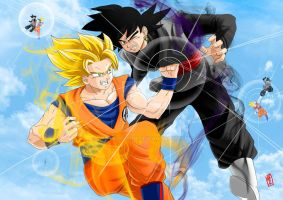 Goku Super Saiyan 2 vs Black Goku by WhysoGurin
