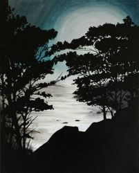 Night Forest original acrylic  by TheJennaBrown